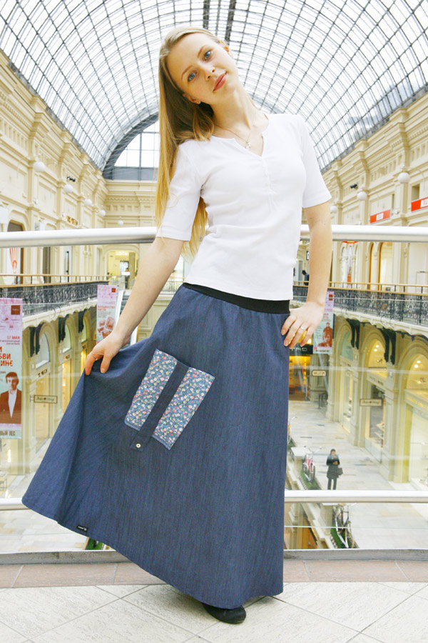 Стильная джинсовая юбка в пол LK108