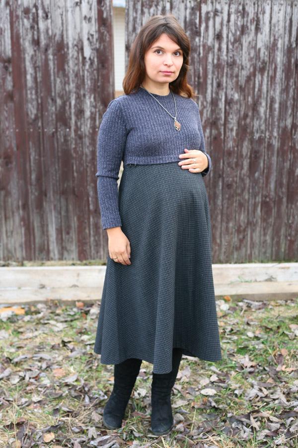 """Теплое платье """"Очарование"""" для беременных и кормящих"""