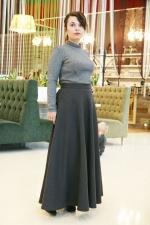 Шерстяная юбка в пол Вечерняя Темза